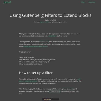 Using Gutenberg Filters to Extend Blocks - Jschof