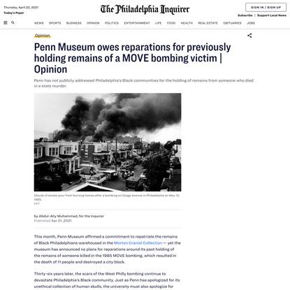Penn Museum owes reparations for previously holding remains of a MOVE bombing victim | Opinion