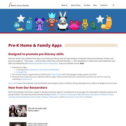 Pre-K Home & Family Apps | Reach Every Reader