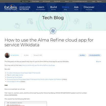 How to use the Alma Refine cloud app for service Wikidata - Ex Libris Developer Network