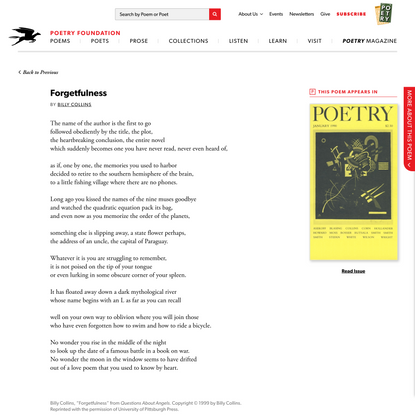 Forgetfulness by Billy Collins | Poetry Magazine
