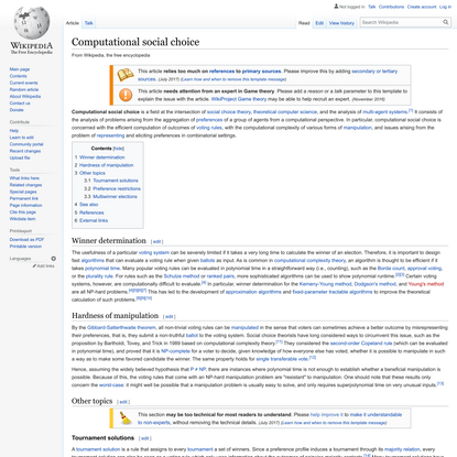 Computational social choice - Wikipedia