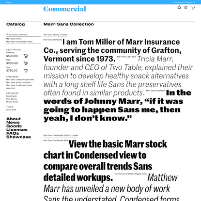 Commercial Type » Catalog » Marr Sans Collection