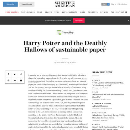 Harry Potter and the Deathly Hallows of sustainable paper
