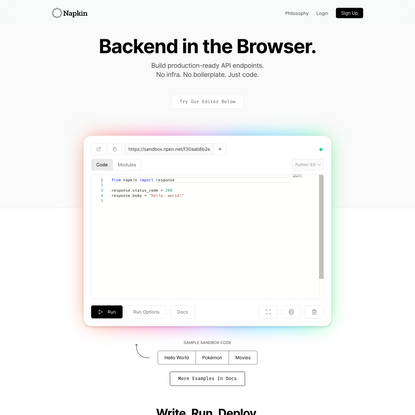 Napkin – Backend in the Browser