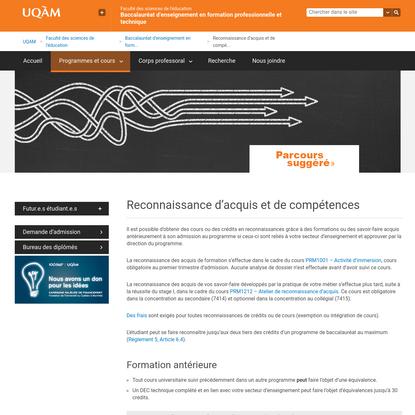 Reconnaissance d'acquis et de compétences | Baccalauréat d'enseignement en formation professionnelle et technique | UQAM