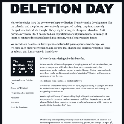 April 4th is Deletion Day