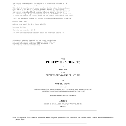 The Poetry of Science by Robert Hunt, a Project Gutenberg eBook.