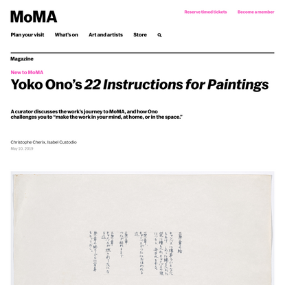 Yoko Ono's 22 Instructions for Paintings | Magazine | MoMA
