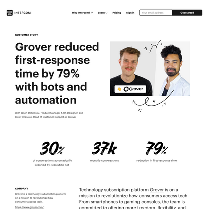 Grover reduced first-response time by 79% with bots and automation