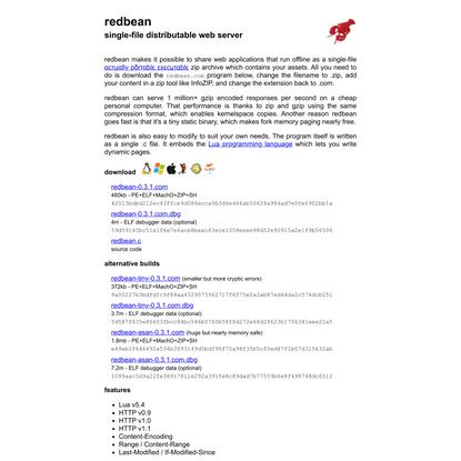 redbean – single-file distributable web server