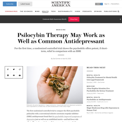Psilocybin Therapy May Work as Well as Common Antidepressant - Scientific American