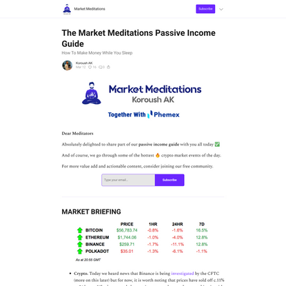 The Market Meditations Passive Income Guide