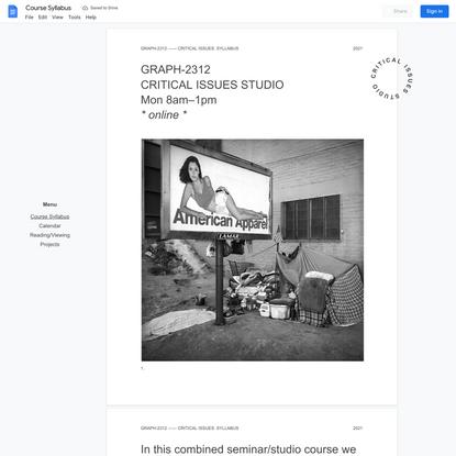 Critical Issues Studio