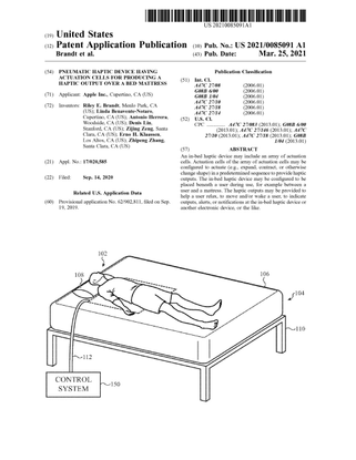 Pneumatic Haptic Device Having Actuation Cells for Producing a Haptic Output over a Bed Mattress - Apple Inc.