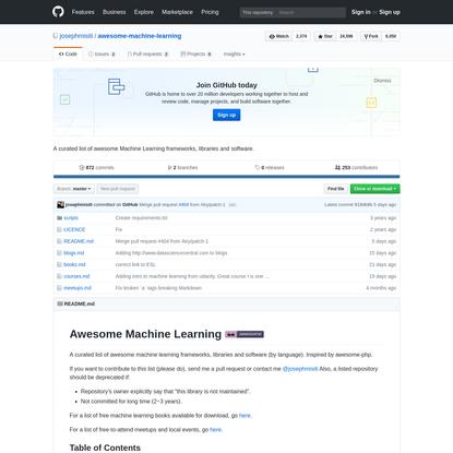josephmisiti/awesome-machine-learning