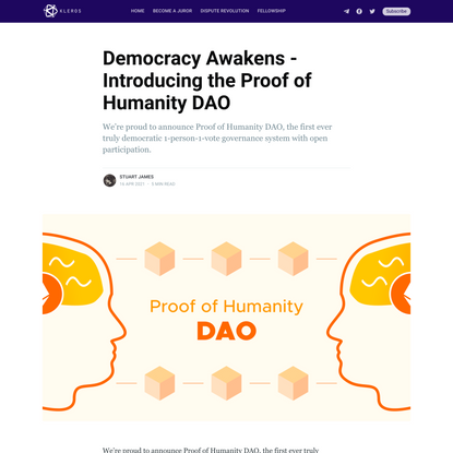 Democracy Awakens - Introducing the Proof of Humanity DAO