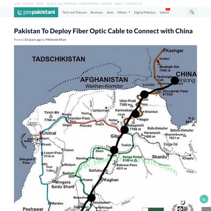 Pakistan To Deploy Fiber Optic Cable to Connect with China