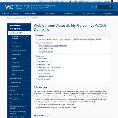Web Content Accessibility Guidelines (WCAG) Overview
