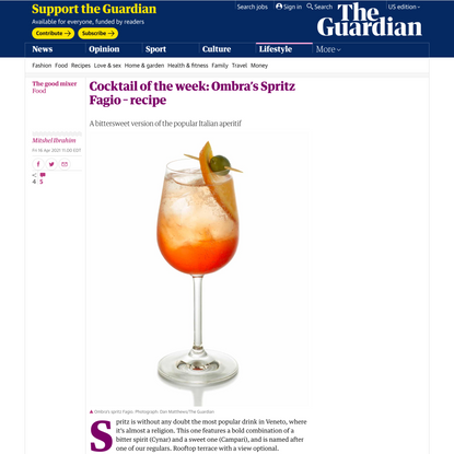 Cocktail of the week: Ombra's Spritz Fagio – recipe | The good mixer