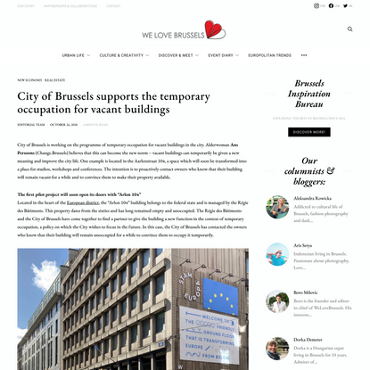 City of Brussels supports the temporary occupation for vacant buildings - We Love Brussels