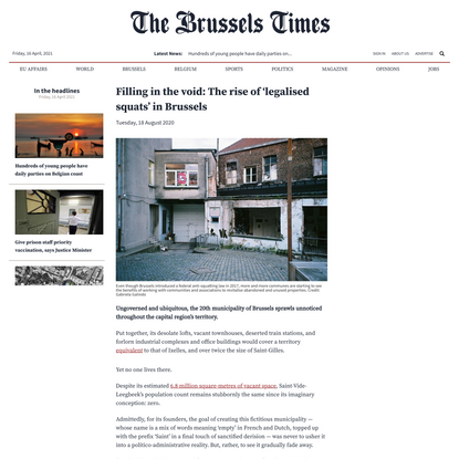 Filling in the void: The rise of 'legalised squats' in Brussels