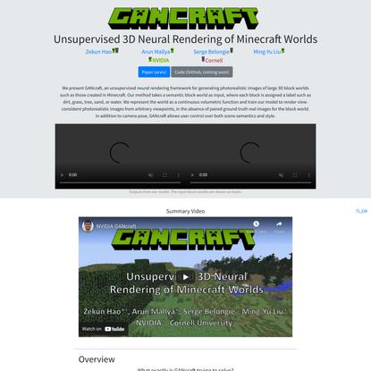 GANcraft: Unsupervised 3D Neural Rendering of Minecraft Worlds
