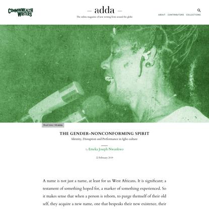 The Gender-nonconforming Spirit - adda