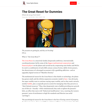 The Great Reset for Dummies