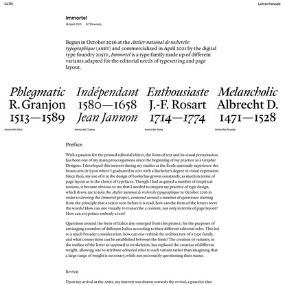 Clément Le Tulle-Neyret | Graphic and typographic practice – Immortel