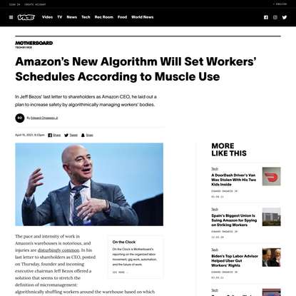 Amazon's New Algorithm Will Set Workers' Schedules According to Muscle Use