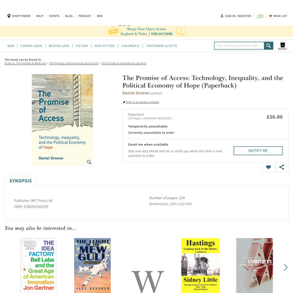 The Promise of Access by Daniel Greene | Waterstones