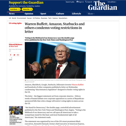 Warren Buffett, Amazon, Starbucks and others condemn voting restrictions in letter