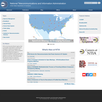 Home Page | National Telecommunications and Information Administration