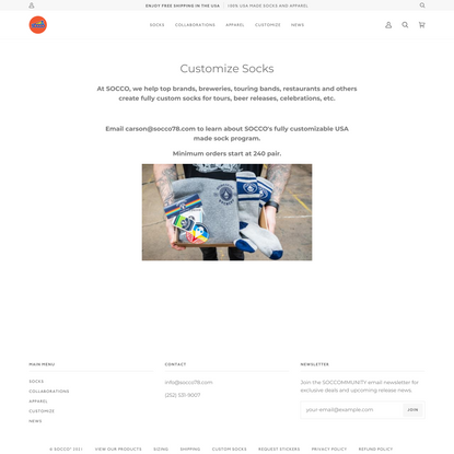 SOCCO | Premium Custom Socks Made to Order in the USA