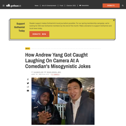 How Andrew Yang Got Caught Laughing On Camera At A Comedian's Misogynistic Jokes