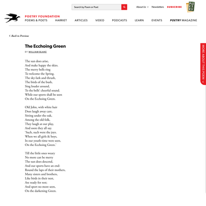 The Ecchoing Green by William Blake | Poetry Foundation