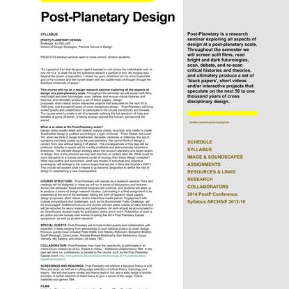 SYLLABUS - Post-Planetary Design