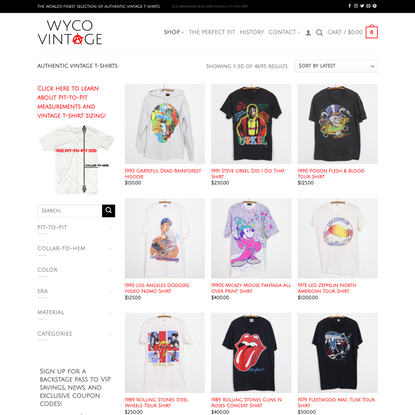 Authentic Vintage T-Shirts, Band Tees, & Concert Shirts | WyCo Vintage