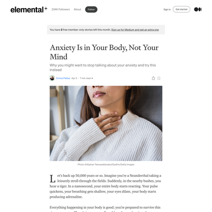 Anxiety Is in Your Body, Not Your Mind | by Emma Pattee | Apr, 2021 | Elemental