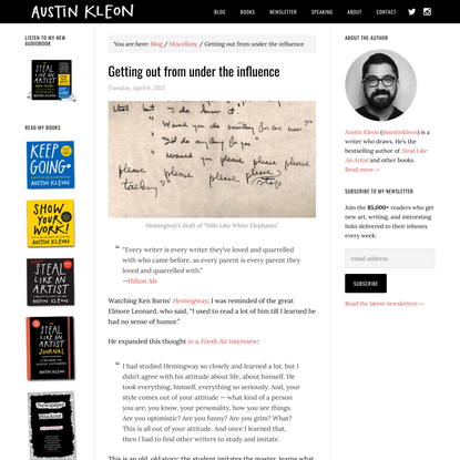 Getting out from under the influence - Austin Kleon