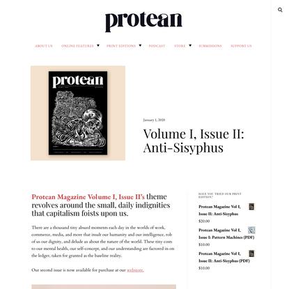 Volume I, Issue II: Anti-Sisyphus