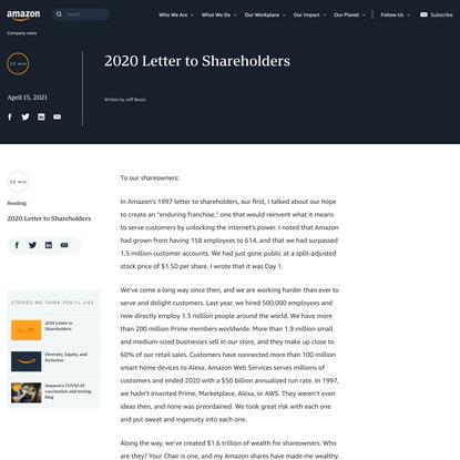 2020 Letter to Shareholders