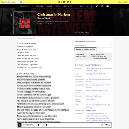 KanyeWest (Ft.CyHiThe Prynce & TeyanaTaylor) – Christmas In Harlem