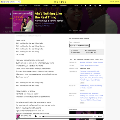 MarvinGaye & Tammi Terrell – Ain't Nothing Like the Real Thing
