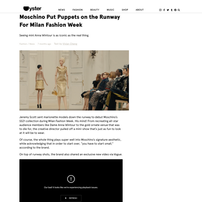 Moschino Put Puppets on the Runway For Milan Fashion Week - Oyster Magazine