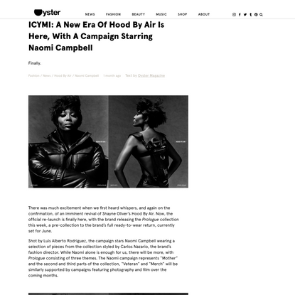 ICYMI: A New Era Of Hood By Air Is Here, With A Campaign Starring Naomi Campbell - Oyster Magazine
