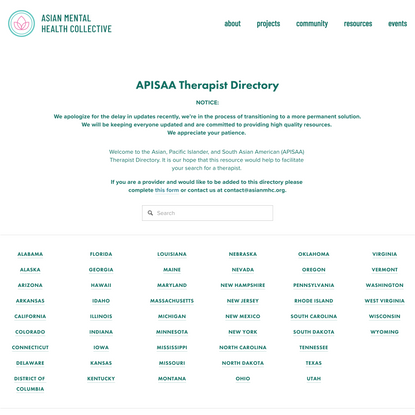 APISAA Therapist Directory — Asian Mental Health Collective