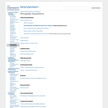 Monograph Acquisitions - librarytechserv