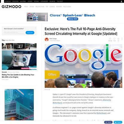 Exclusive: Here's The Full 10-Page Anti-Diversity Screed Circulating Internally at Google